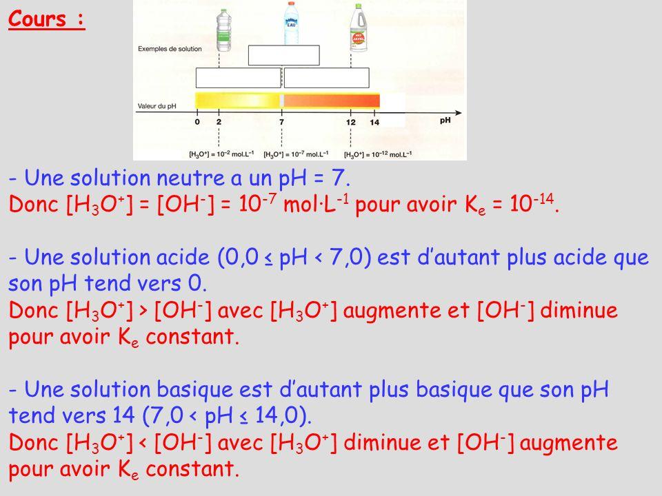 Cours : - Une solution neutre a un pH = 7. Donc [H3O+] = [OH-] = 10-7 mol·L-1 pour avoir Ke = 10-14.
